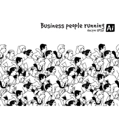 Crowd business people running marathon black and vector