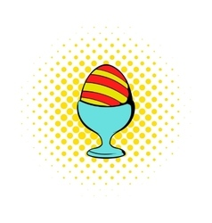 Easter egg on a stand icon comics style vector