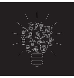 Black bulb creative lines symbol of ideas object vector