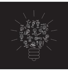 Black bulb creative lines symbol of ideas object vector