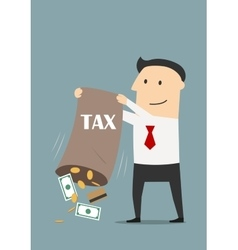Businessman with bag of collected taxes vector image