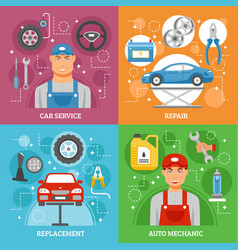 Car service 4 flat icons square banner vector