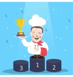 chef winner get trophy career top achievement vector image