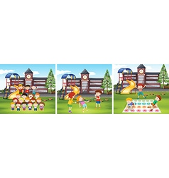 Children playing games at school ground vector