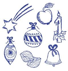 Christmas symbols doodles set vector image vector image