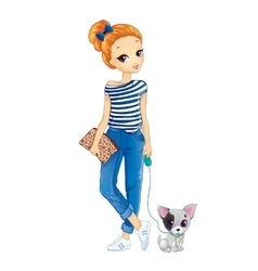 City redhair girl walking with dog vector