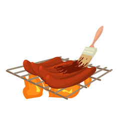 cooking meat on bbq icon cartoon style vector image