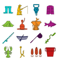 Fishing tools icons doodle set vector