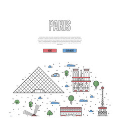 France travel tour poster in linear style vector