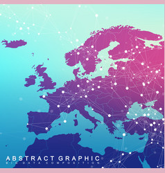 global network connection with europe map network vector image