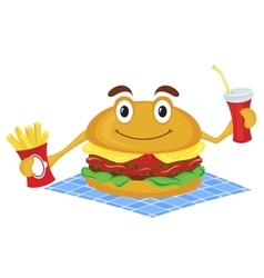 Hamburger holds a french fries and drink vector