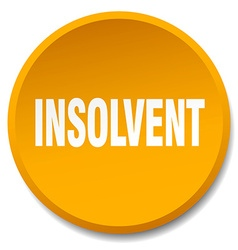 Insolvent orange round flat isolated push button vector