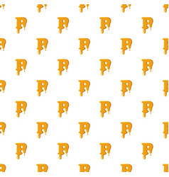 Letter p from honey pattern vector