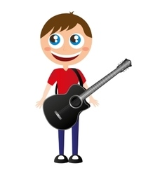 little kid playing electric guitar vector image vector image