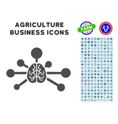 Mind control links icon with agriculture set vector