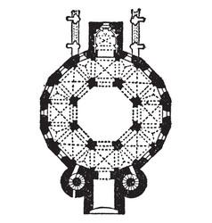 Plan of cathedral at aix-la-chapelle vintage vector