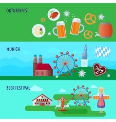 Set of flat horizontal german oktoberfest beer vector