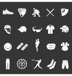 Set of icons of baseball on a dark background vector