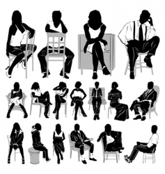 sitting people vector image vector image