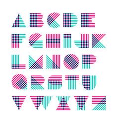 Striped alphabet made of crossed lines vector