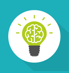 Think green symbol brain in green lightbulb vector