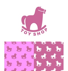 Toy shop logo rocking horse set emblem and pattern vector