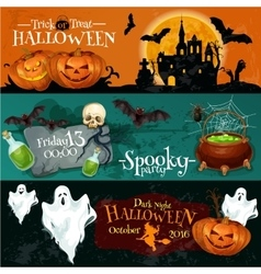 Traditional Halloween invitation banners with text vector image