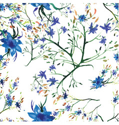 Watercolor seamless floral pattern flowers vector