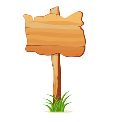 wooden signpost in grass isolated icon vector image vector image