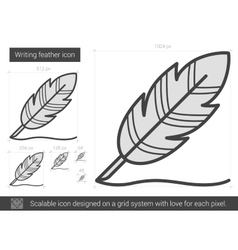 Writing feather line icon vector