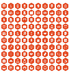 100 office icons hexagon orange vector