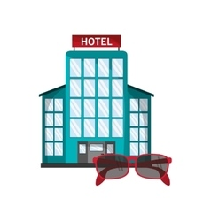 Hotel and sunglasses icon vector