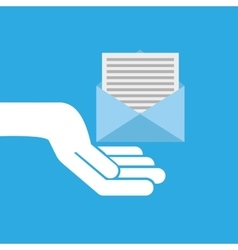 Hand hold icon envelope email message design flat vector