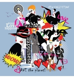 Fashion collage fashion girl in sketch-style vector