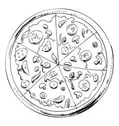 Sliced pizza icon vector image