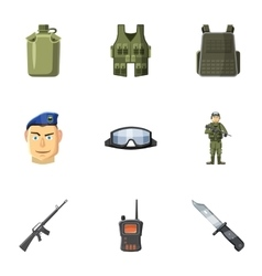 Military defense icons set cartoon style vector
