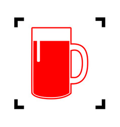 Beer glass sign  red icon inside black vector