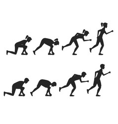 running people step positions silhouette black vector image