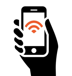 Phone with wi-fi sign vector
