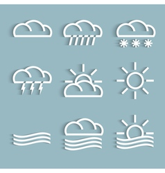 White weather icons vector
