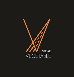 Thin line design template logotype vegetable store vector