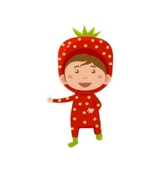 Kid wearing strawberry costume vector