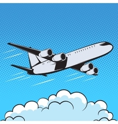 aircraft retro style pop art air vector image