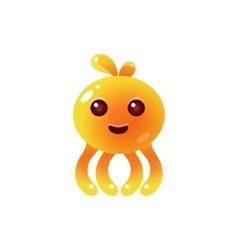 Yellow Balloon Octopus Character vector image