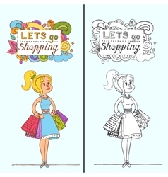 Happy doodle girl with shopping bags in shop vector image