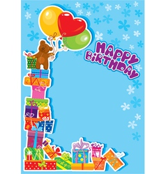 Baby boy birthday card with teddy bear vector
