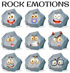 Rock with different facial expressions vector