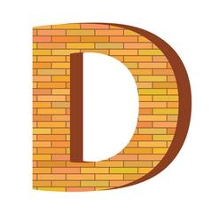 brick letter D vector image vector image