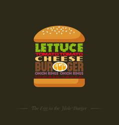 Burger recipe info graphic lettering vector