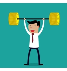 Business executive power lifting barbell vector